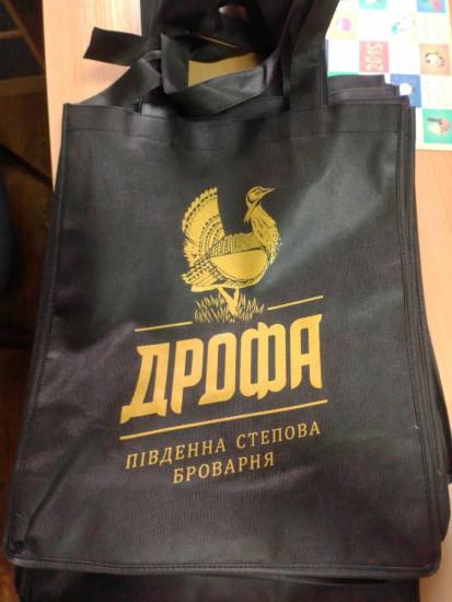 Эко сумка чёрная с логотипом Дрофа