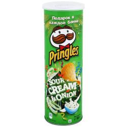 Чипсы Pringles картофельные со вкусом сметаны и лука 165г